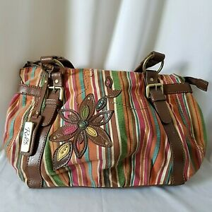 Relic-Orange-Pink-Blue-Brown-Striped-Purse-Shoulder-Bag-Flower-Embellished