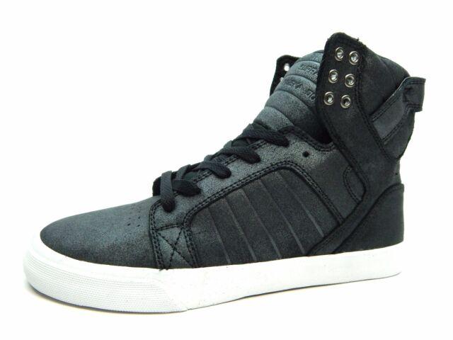 7902b1800c59 SUPRA Skytop Black Metallic White Women Shoes Size 9.5   10 Sw18036 ...