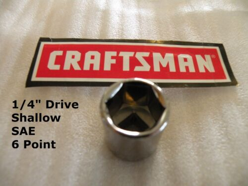 """CRAFTSMAN 1//4/"""" Drive dr SAE Inch in Shallow 6 Point pt 6pt ANY SIZE SOCKET"""