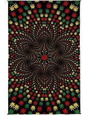 Handmade 100% Cotton 3D Weed Vortex Rasta Tapestry Tablecloth Sheet 60x90