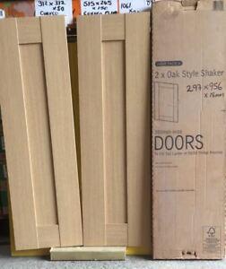Oak Style Shaker Kitchen Wall Base Doors 2x 300x955mm