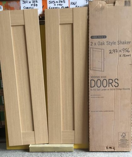 Chêne Style Shaker Kitchen Wall Base portes 2X 300X955mm encastrable Porte Pack V
