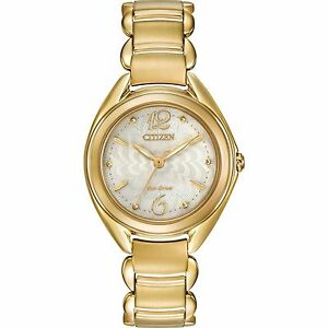 Citizen-Eco-Drive-Silhouette-Women-039-s-Gold-Tone-Ivory-Dial-31mm-Watch-FE2072-89A