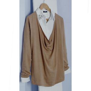 Camel-cotton-soft-draped-cowl-neck-fine-knit-top-RRP-EUR-49-95