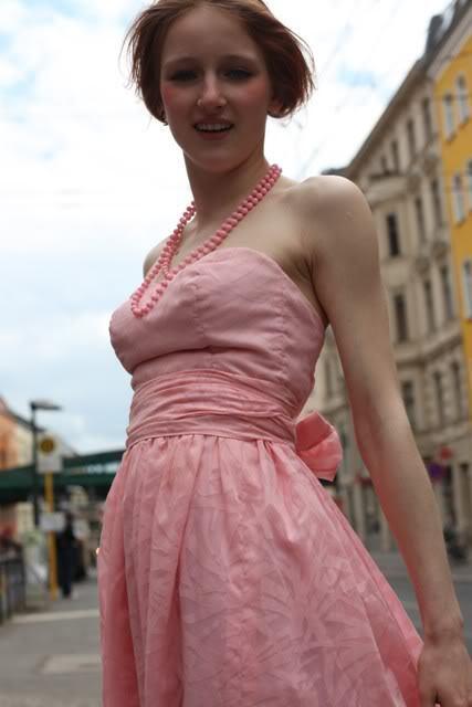 Kleid Jugendweihe Abendkleid Sommerkleid dress schulterfrei 80s VINTAGE 80er