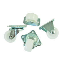 "4Pcs Practical 1"" Plastic Wheel Rectangle Top Plate Fixed Swivel Caster Set LW"