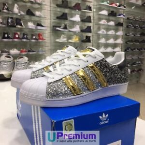 new style e57c5 d6820 Image is loading Adidas-Superstar-Silver-Black-Gold-2018-Custom-product-