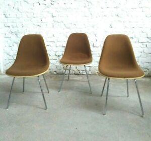 Pcs-eames-dsx-chair-Herman-Miller-Vitra-Offwhite-Brown-fabric-Fiberglass-1970s