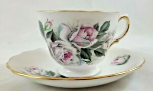 Royal Vale Bone China Made In England Floral Pink Tea Cup/Royal Malvern Saucer