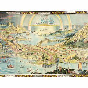Map-Sleigh-1918-Ancient-Fairyland-Fantasy-Chart-Large-Wall-Art-Print-18X24-In