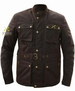 XTRON-Vintage-Wax-Cotton-Waterproof-Motorcycle-Motorbike-Jacket-CE-armour-Biker