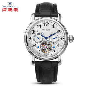 Seagull-Automatic-watch-Men-039-s-Flying-wheel-Steel-case-Leather-band-Business-Date
