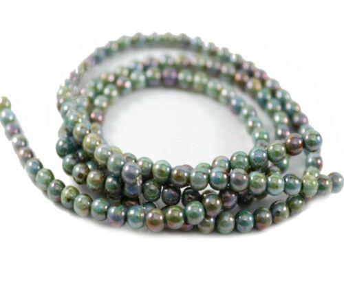 Czech Druk Round Glass Beads~Opaque Chalk White Blue Glaze