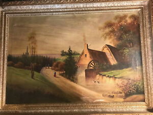 Huge-H-Pinto-034-Watermill-And-Landscape-Scene-034-Oil-Painting-Signed-And-Framed