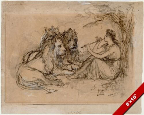 IDYLL TAMING THE LIONS WITH MUSIC SONG WASH PAINTING ART REAL CANVAS PRINT
