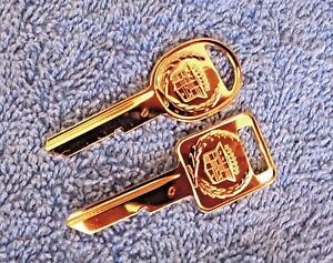 NOS-NEW-OEM-GM-UNCUT-1968-90-Cadillac-C-amp-D-Key-Blank-Set-GOLD-Ornament-Emblem