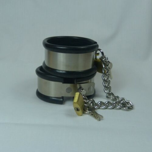 Locking steel cuffs with rubber liner and chain Small CU-106 FREE UK DELIVERY