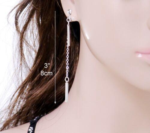 #E122B CLIP ON EARRINGS Women Men MINI 18mm Bar Square Vertical Drop Silver Tone