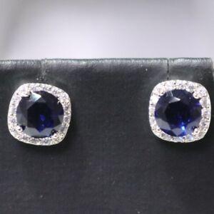 5c59f0728 Elegant 2 Ct Blue Round Sapphire Diamond Halo Stud Earrings 14K ...