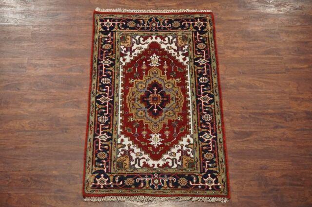 Antiqued 3X5 Serapi Persian Veg' Dye Area Rug Hand-Knotted Oriental Wool Carpet