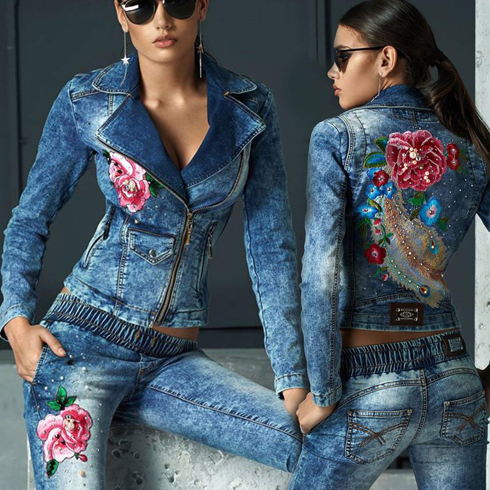 By Alina Jeans 2-Teiler Jeansjacke Jacke Röhrenjeans Hüftjeans Blau Rosa