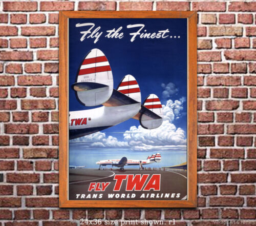 TWA Fly the Finest Vintage Airline Travel Poster 6 sizes, matte+glossy avail