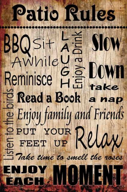 Patio Rules for Enjoying Family and Life Metal Sign