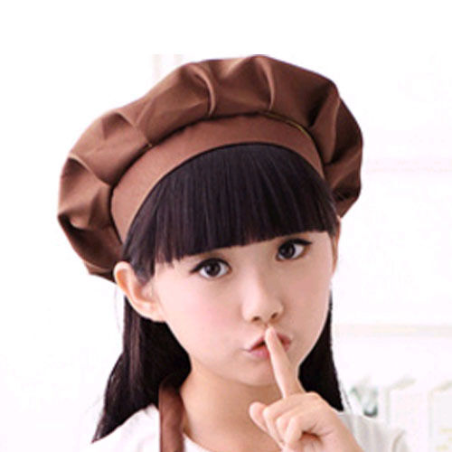 US Children Kitchen Peaked Chef Hat Cooking Baking Beanie Cap Solid Painting Hat
