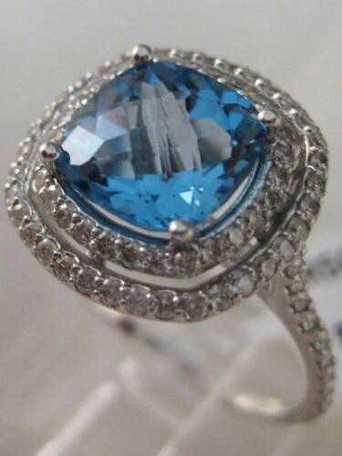MODERN 3.16CTW DIAMOND BLUE TOPAZ 14K W GOLD HALO CUSHION COCKTAIL RING R5051DBW