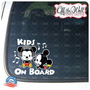 """Mickey and Mickey Cuties""""Kids On Board"""" Sign Vinyl Decal Sticker #PDCV"""