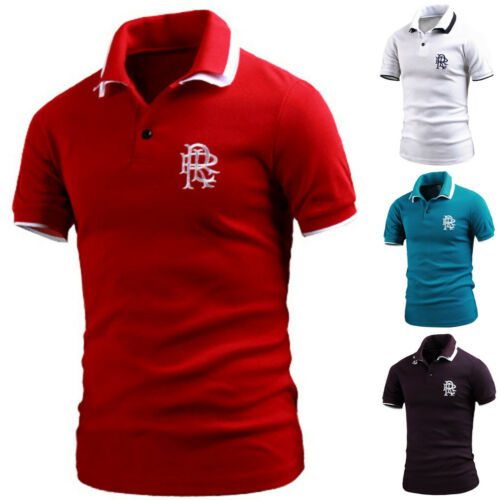 Mens Stylish Layered Collar Short Sleeve Pique Polo Casual T-Shirts Tops B03 S-L