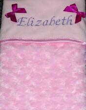 Luxurious Personalised  Baby Blanket Embossed Rosebud Pink Girl Newborn Gift