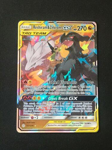 Reshiram /& Zekrom Tag Team GX Ultra Rare 157//236 Cosmic Eclipse