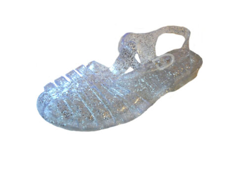 Nouvelle Filles Femme Gelée paillettes rétro plage tongs sandales taille 3 4 5 6 7 8