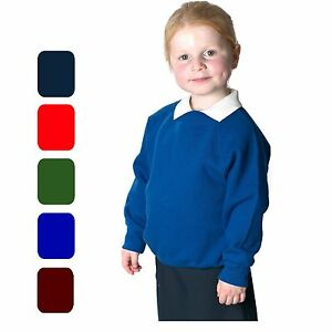 KIDS BOYS GIRLS UNISEX JUMPER SWEAT SHIRT CREW NECK SCHOOL UNIFORM