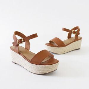 00d5d0fb744e Image is loading Ankle-Strap-Flatform-Platform-Wedge-Espadrille-Sandal-Tan
