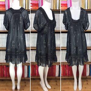 Sissy-Vestido-100-Seda-Tunica-Transparente-Estampado-de-Estrellas-Pajaro-Lurex-Playa-Caftan-UK-10