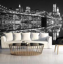 Wall Mural photo WALLPAPER for bedroom & living room New York Lights Black&White