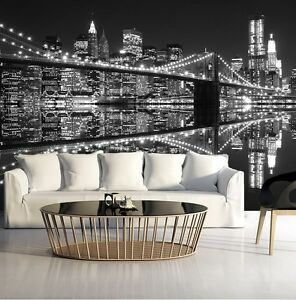papier peint photo mural pour chambre coucher salle manger new york ebay. Black Bedroom Furniture Sets. Home Design Ideas