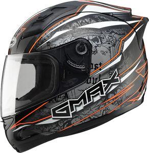 GMAX GM69 FULL FACE MAYHEM HELMET MATTE BLACK//SILVER//WHITE 3X