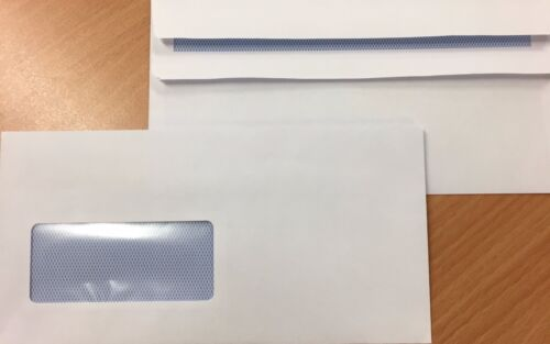 Box of 1000 DL 80 gsm White Self Seal Business Envelopes With Window Free 24H