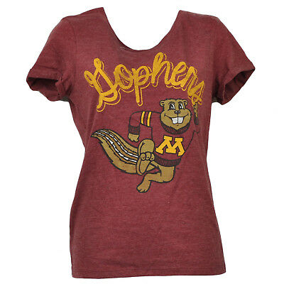 Baseball & Softball Zielsetzung Ncaa Minnesota Golden Gopher Rundhalsausschnitt Burgunderrot T-shirt Kurzärmelig