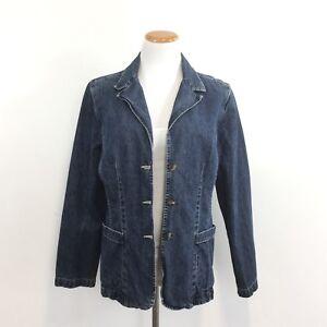 3627bc83cdc Image is loading Gloria-Vanderbilt-Distressed-Denim-Blazer-Jacket -100-Cotton-