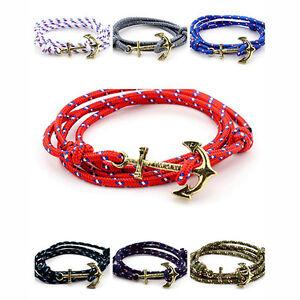 Adjustable-Anchor-Charm-Rope-Bracelet-Nautical-String-Navy-Unisex-Jewellery-Gift
