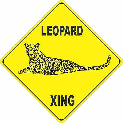 """15.5/"""" x 15.5/"""" plastic funny Leopard sign xing Crossings animal wild cat"""
