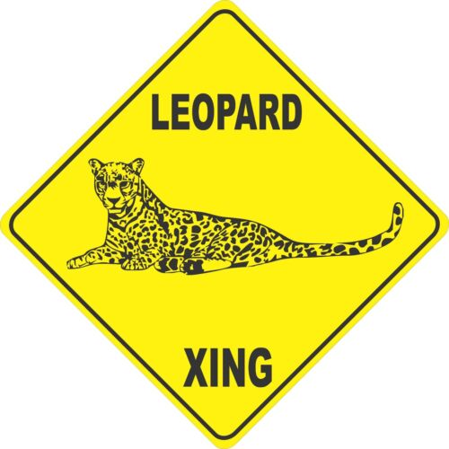 "15.5/"" x 15.5/"" plastic funny Leopard sign xing Crossings animal wild cat"