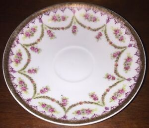 Vintage-Austria-China-Saucer-Pink-Roses-And-Gold-Trim