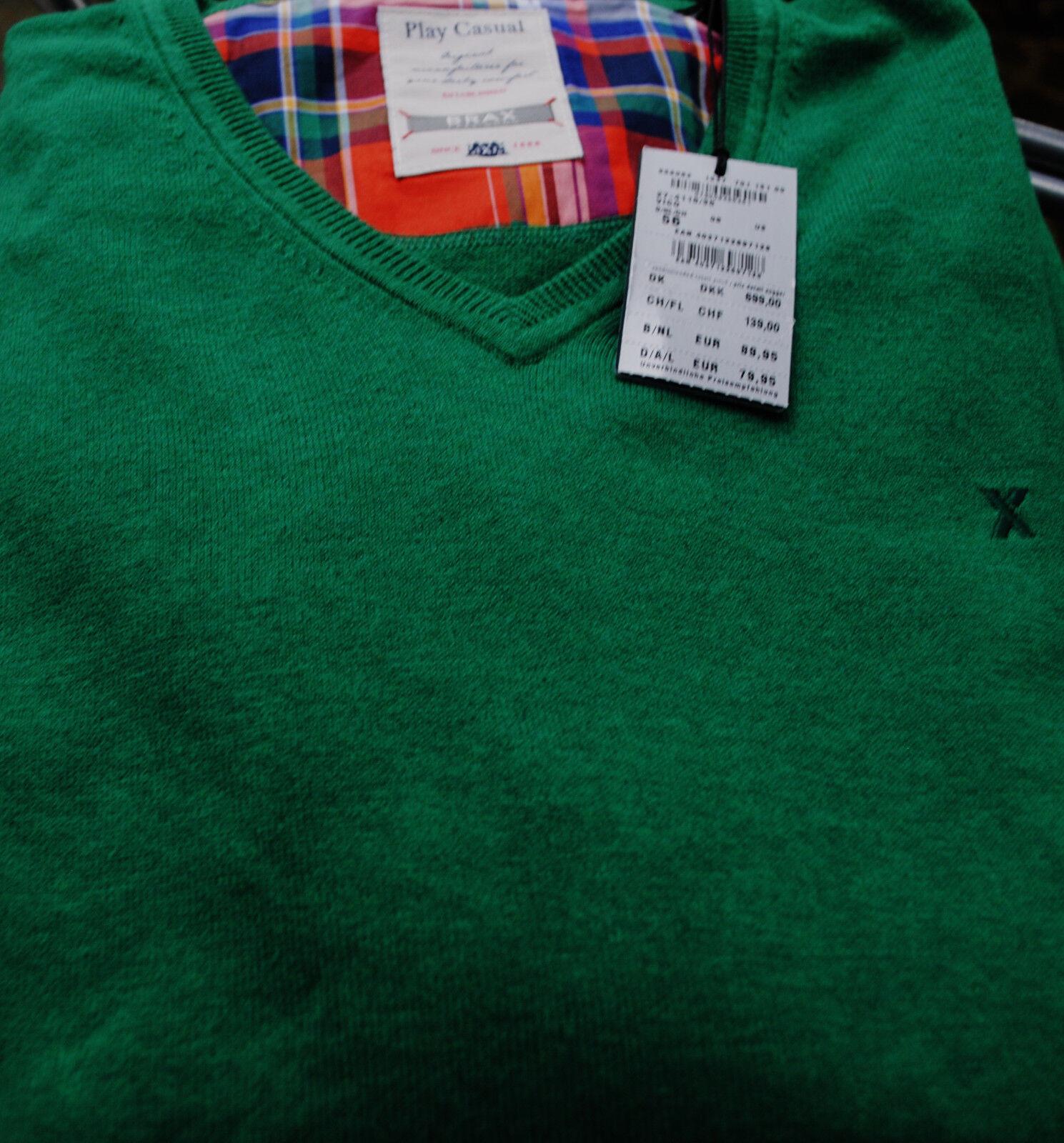 Pullover Gr. 56 ( XXXL ) von Brax...V-Ausschnitt..Herren..grün..NEU mit Etikett