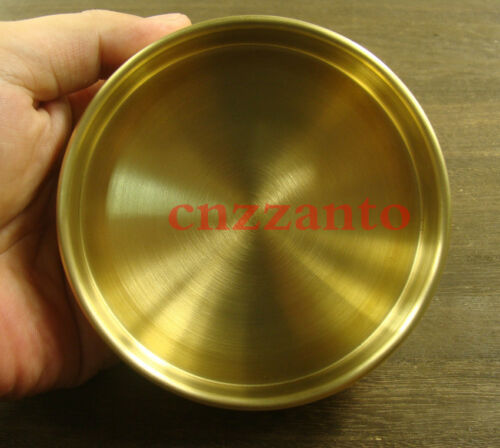 edge curl Solid brass round dish plate tray Bottom Diameter 107mm Z241B