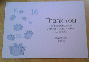 Image Is Loading 5 PERSONALISED BIRTHDAY GIFTS THANK YOU CARDS 16th